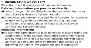 Condiciones de uso Photoroulette articulo 5
